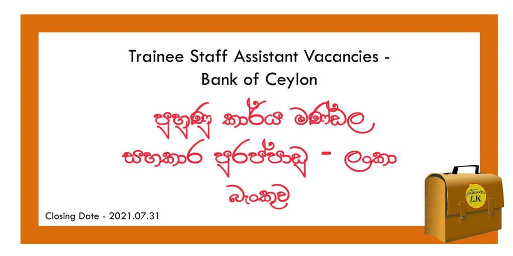 Trainee Staff Assistant Vacancies
